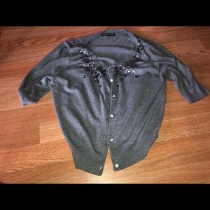 Express grey large shirt sleeve cardigan